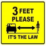 Free Sticker: '3 Feet Please – It's The Law'