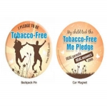 Tobacco Backpack Pin And Car Magnet For Taking A Pledge