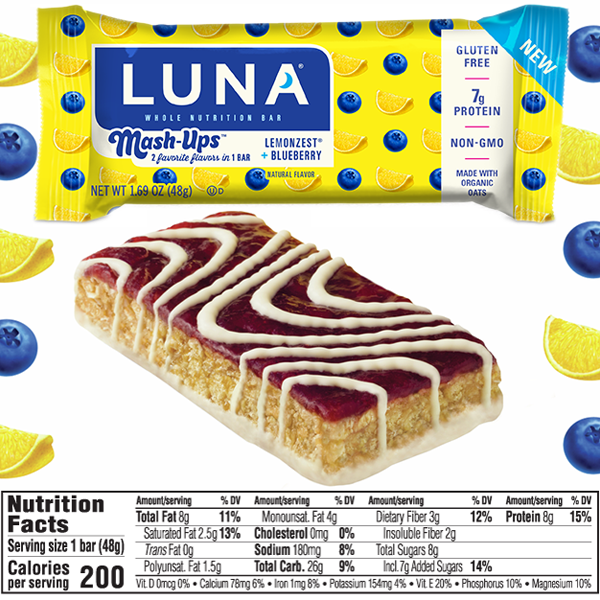 Luna Mashups Lemonzest  Blueberry Bar